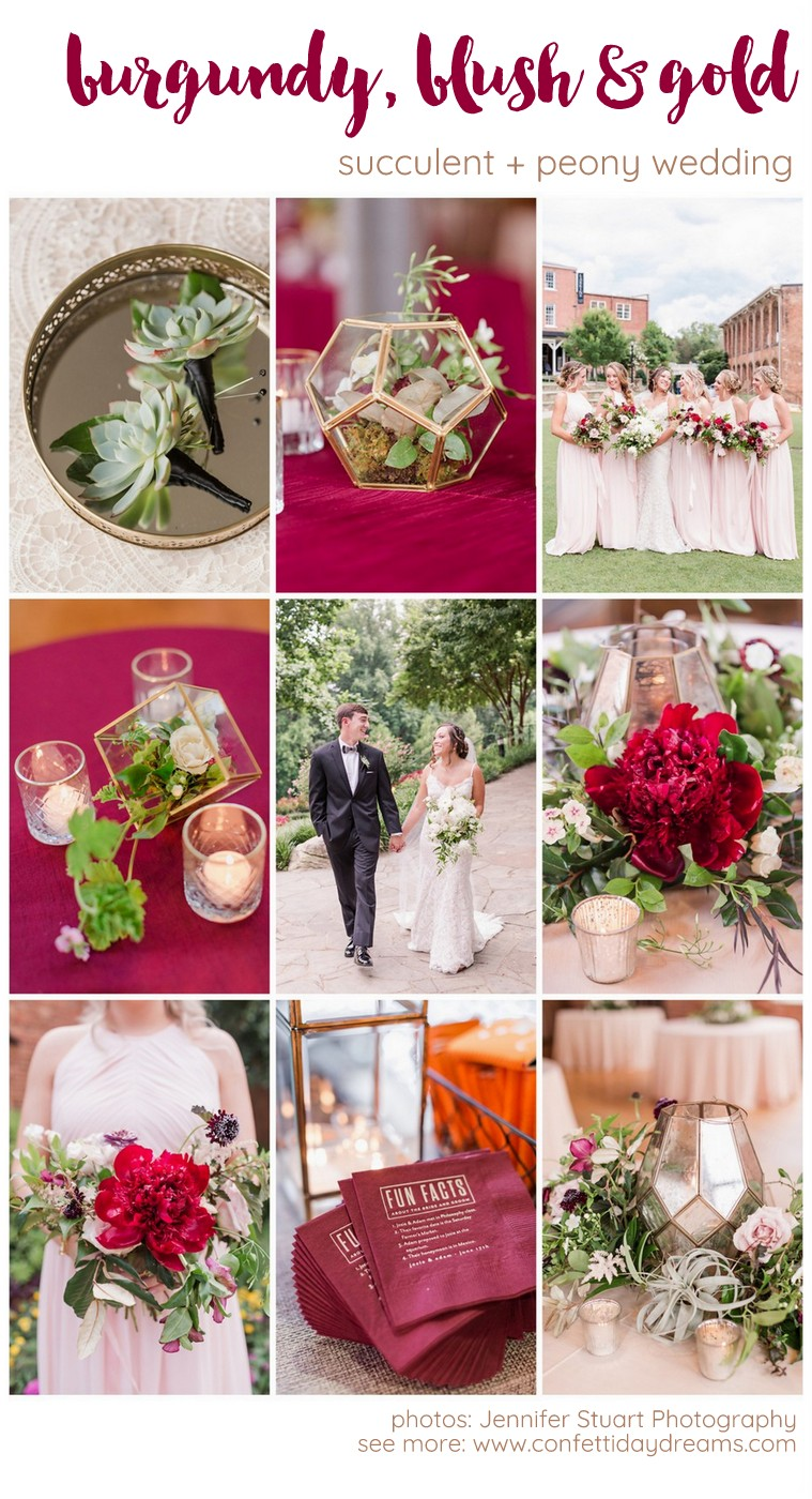 Burgundy Blush Gold Wedding
