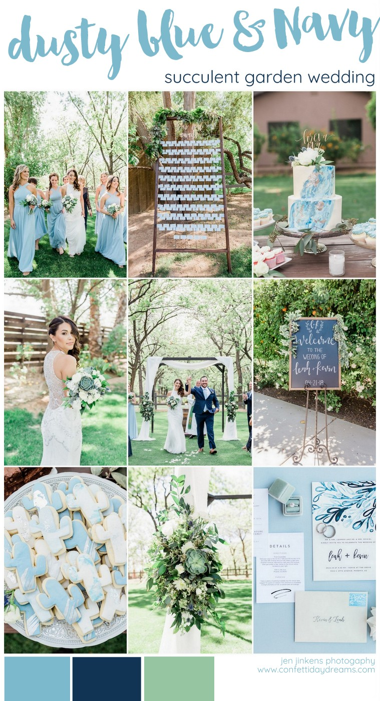 Dusty Blue Succulent Filled Arizona Garden Wedding At The Grove