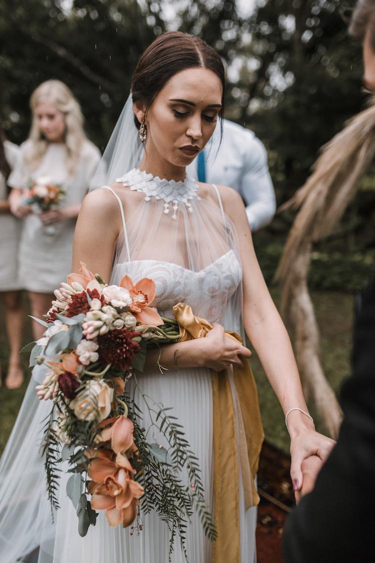 Burnt orange and greenery farm wedding