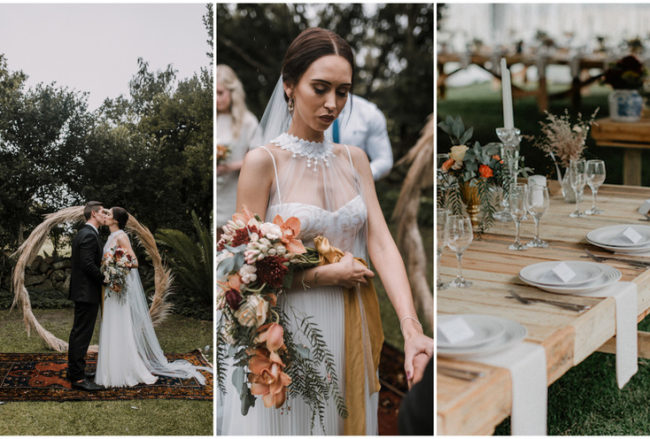 Moody Burnt Orange + Greenery Farm Wedding with Pampas Grass