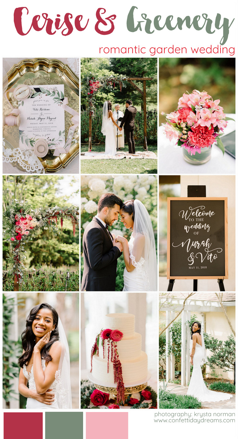 Cerise and Greenery Garden Wedding