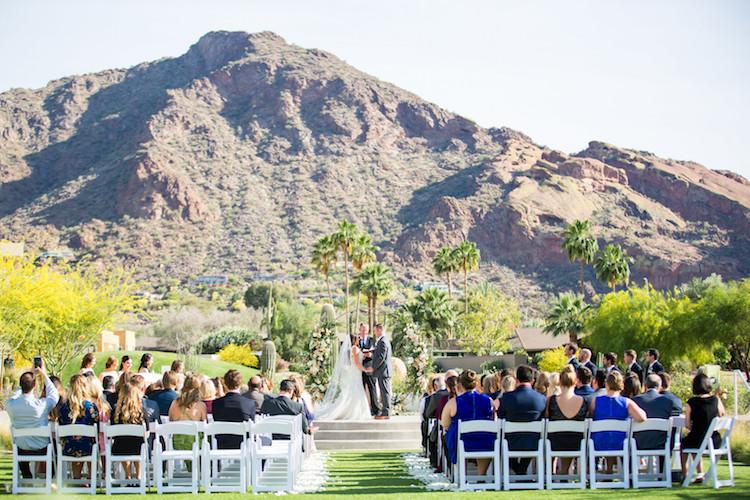 Blush Mint Arizona Wedding with Circular Floral Arch
