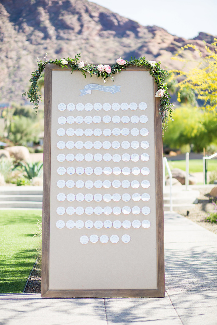 Blush Mint Arizona Wedding with Circular Floral Arch
