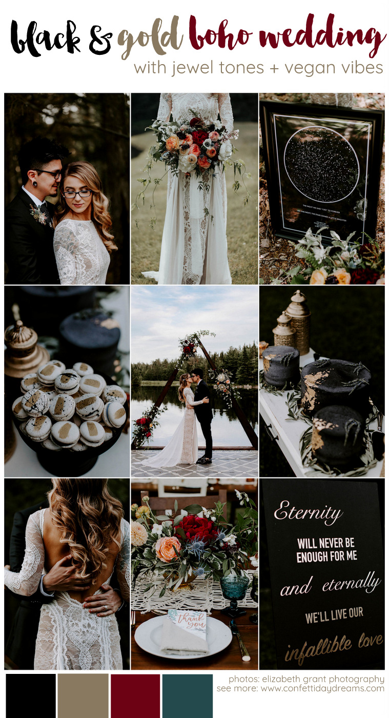 Black and Gold Boho Vegan Wedding