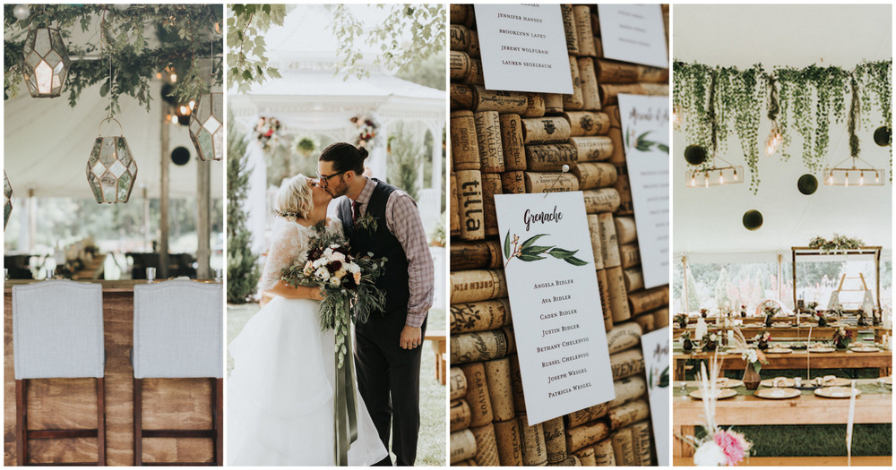 Greenery and Gold Outdoor Wedding