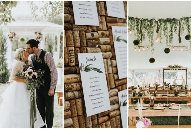 Organic Greenery + Gold Outdoor Wedding Filled with Fun!