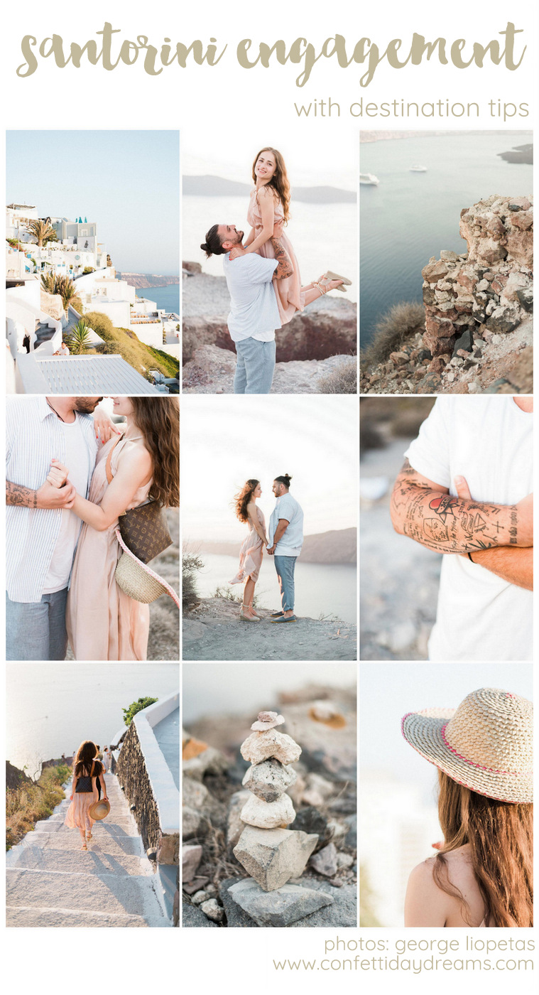 Santorini Destination Engagement Photos with Tips