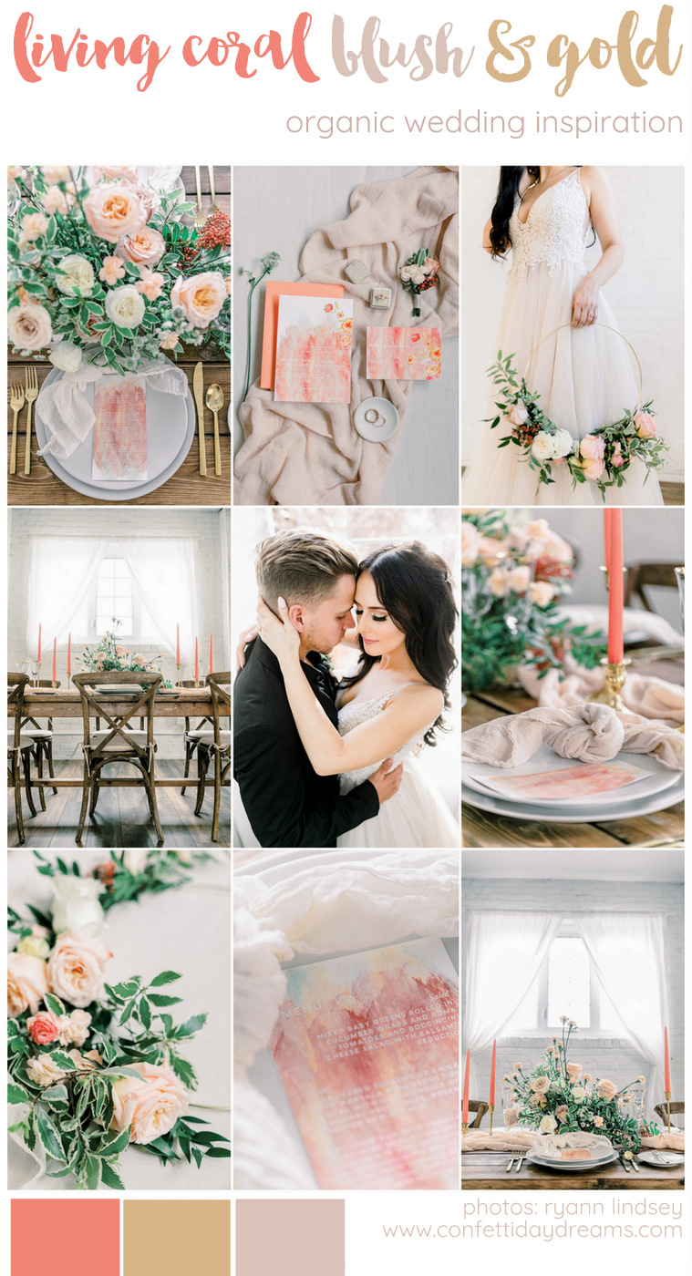 Living Coral, Blush and Gold Wedding Ideas