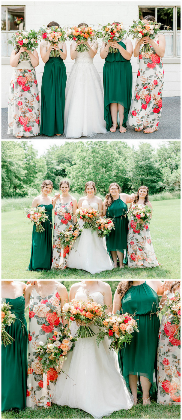 Coral Mint and Rose Gold Bridesmaid dresses and bouquet