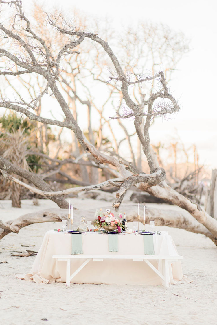 Bohemian Beach Wedding Reception