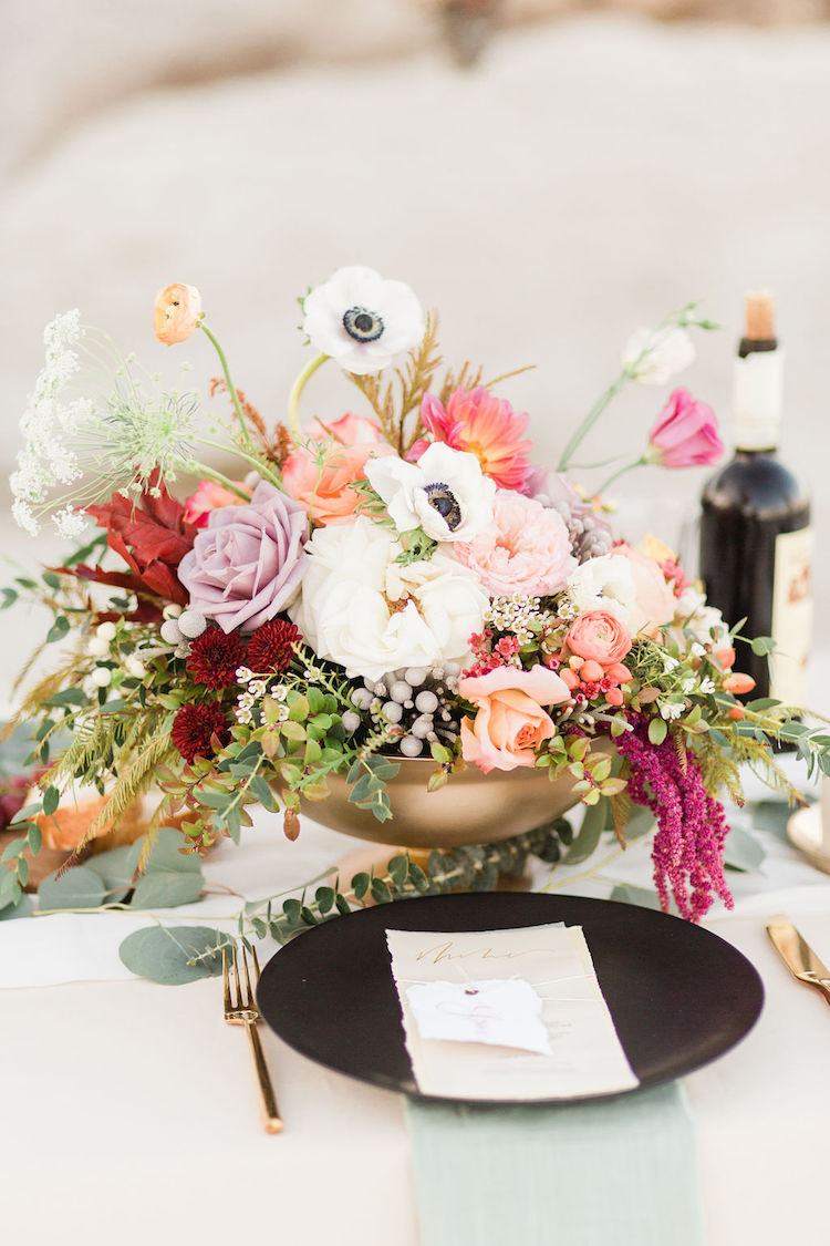 Bohemian Beach Wedding Table Flowers