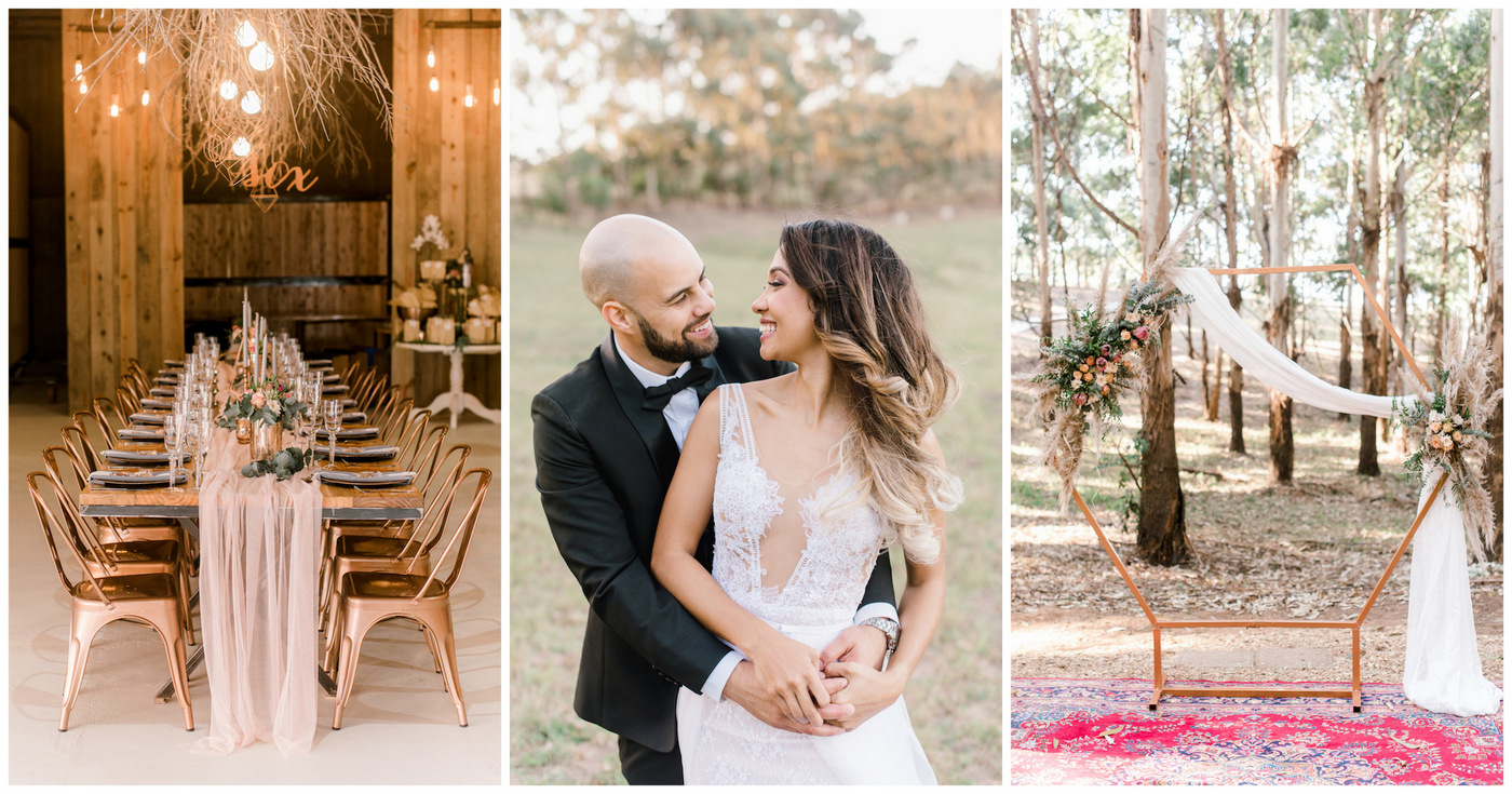 Gold Blush Geometric Boho Wedding Ideas