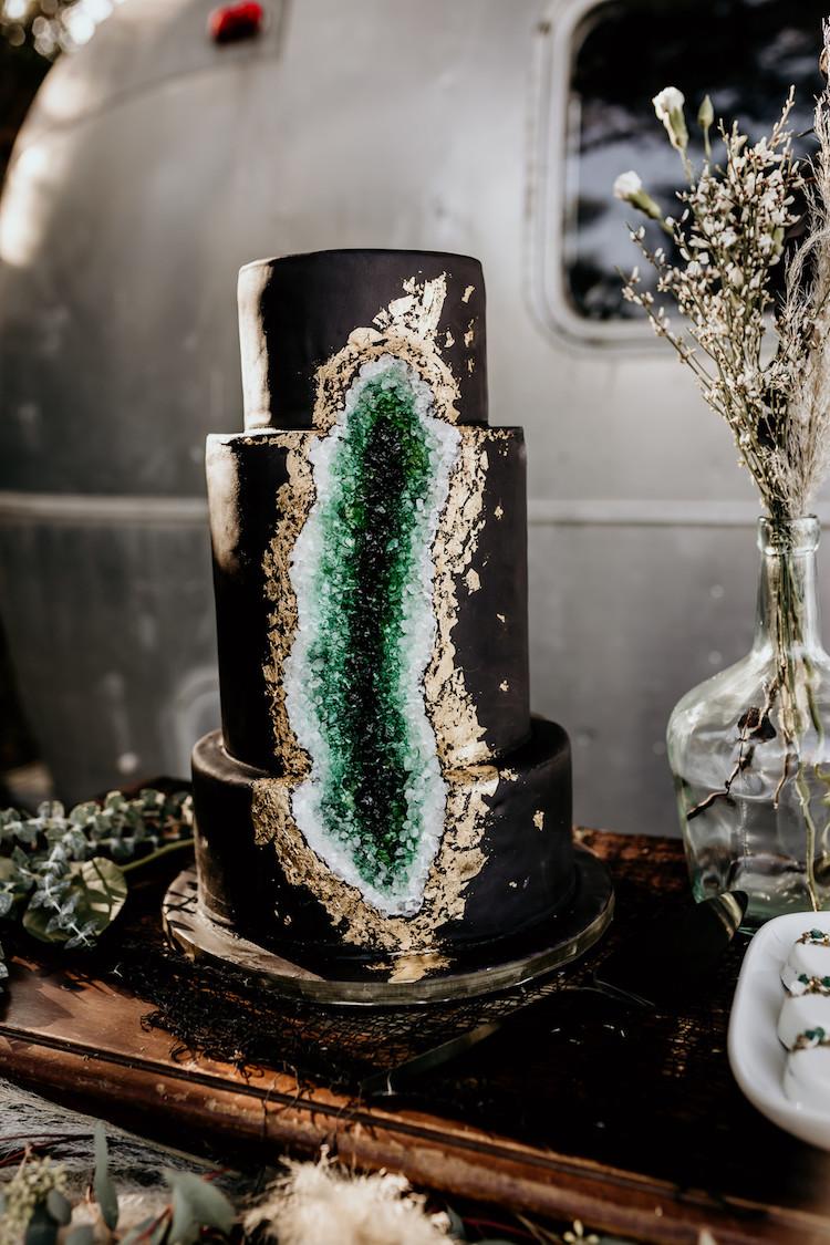 Gold Emerald Geode Wedding Cake