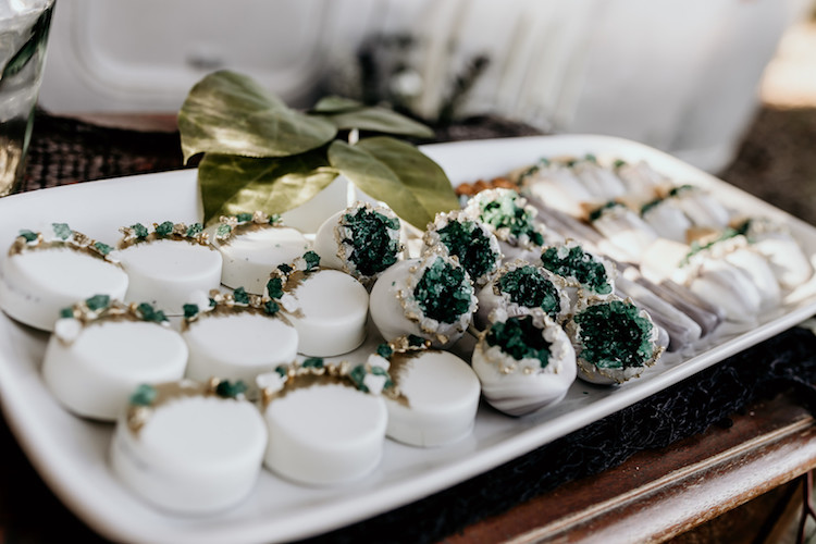 Gold Emerald Geode Wedding Cake