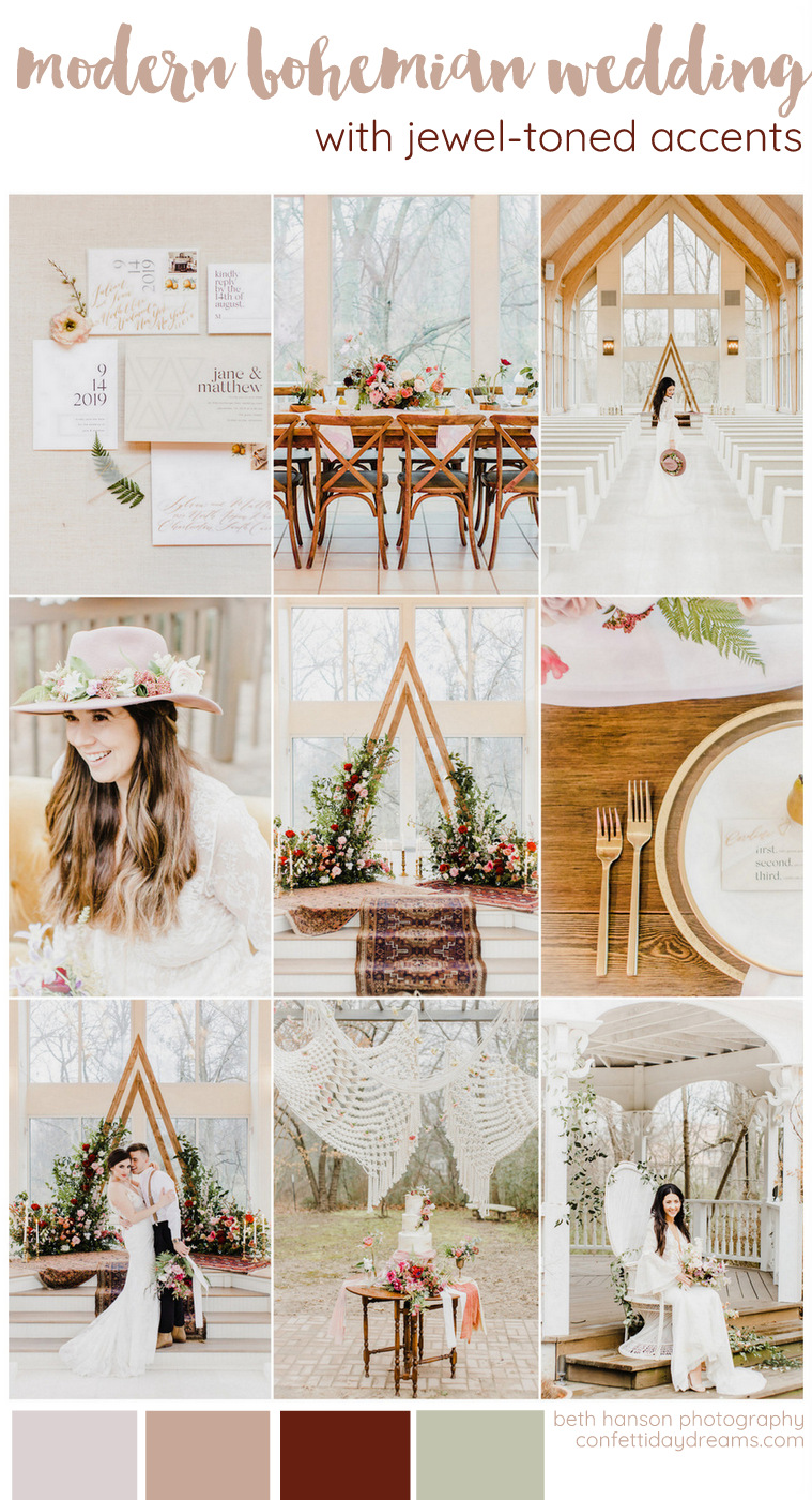 Modern Bohemian Wedding with Jewel Tones