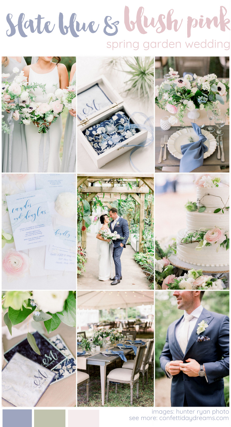 Slate Blue and Blush Pink Spring Wedding