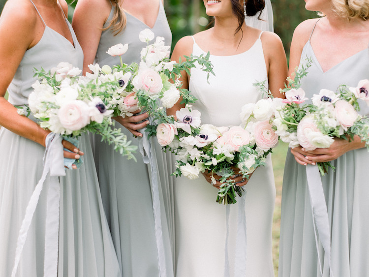 Slate Blue and Blush Pink Bridesmaids