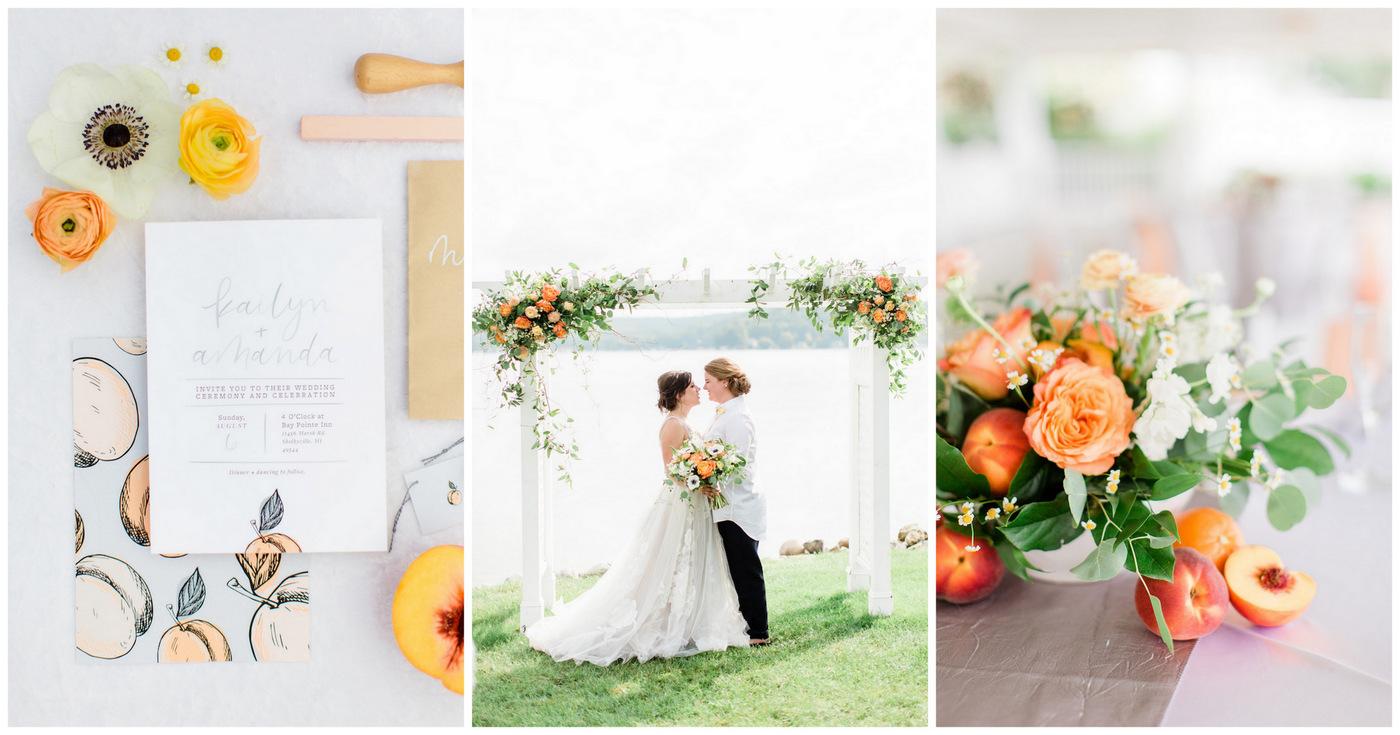 4019139e4db6 Playful Peach + Citrus Summer Wedding Ideas