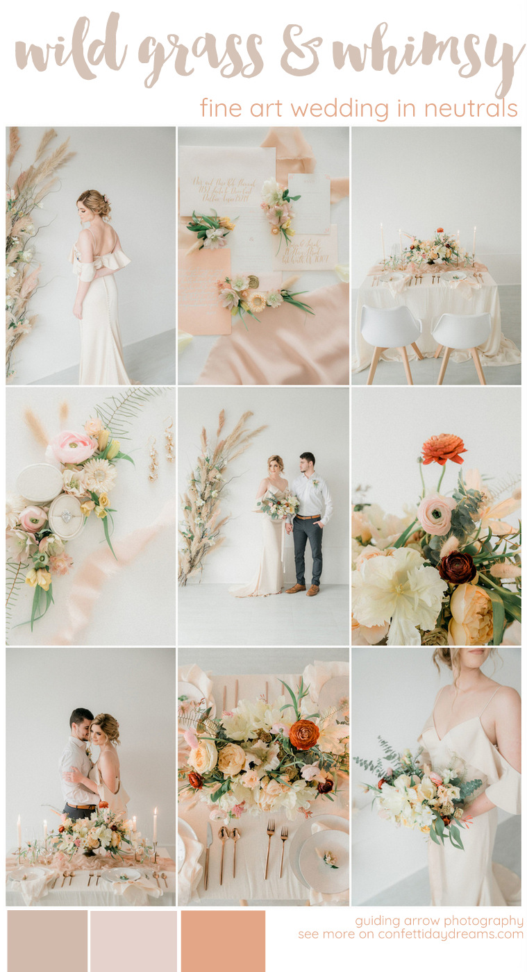 peach cream and blush pampas grass wedding