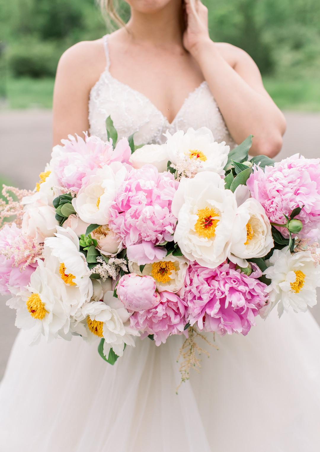 Pink White Peony Wedding Bouquet