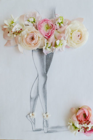 Ballerina Wedding Dress Sketch with real flowers