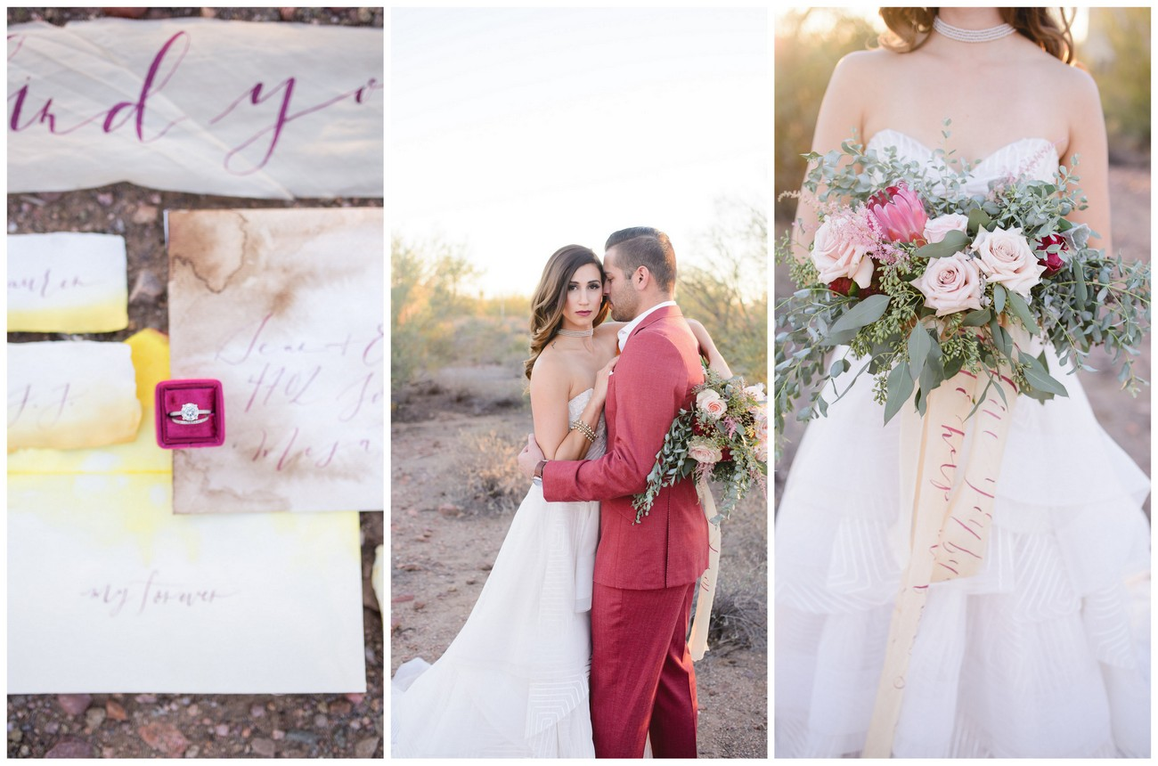 Berry + Blush Desert Wedding with Calligraphy Details  {Marisa Belle Photography}
