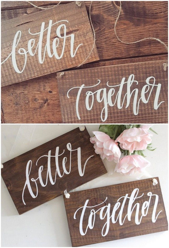 Rustic Better Together Mr and Mrs Wedding Sign for reception chairs and as photo props. See 20 more cute and creative ideas here: https://confettidaydreams.com/mr-and-mrs-signs/