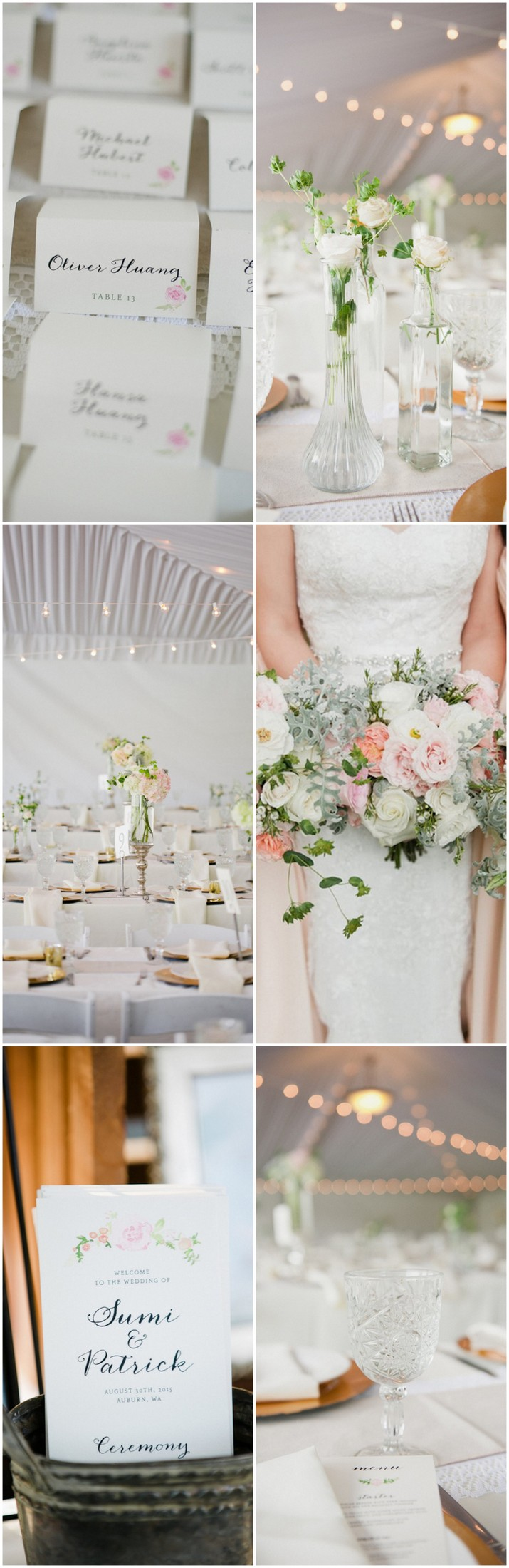 Blush Gold White Watercolor Outdoor Seattle Wedding