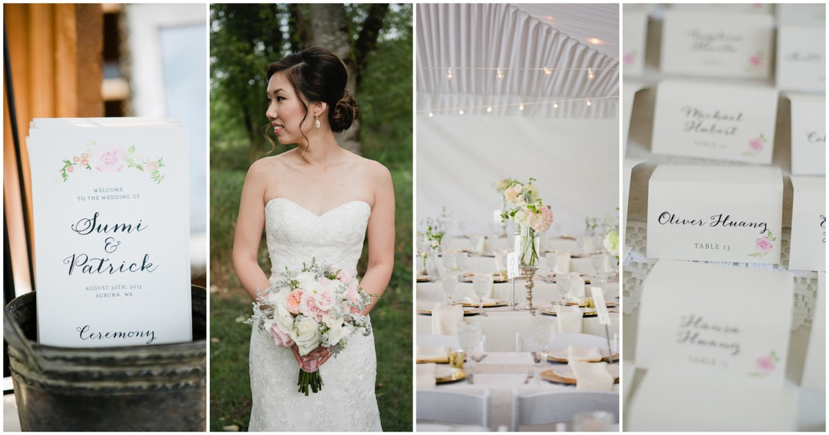 Blush Gold Watercolor Outdoor Seattle Wedding