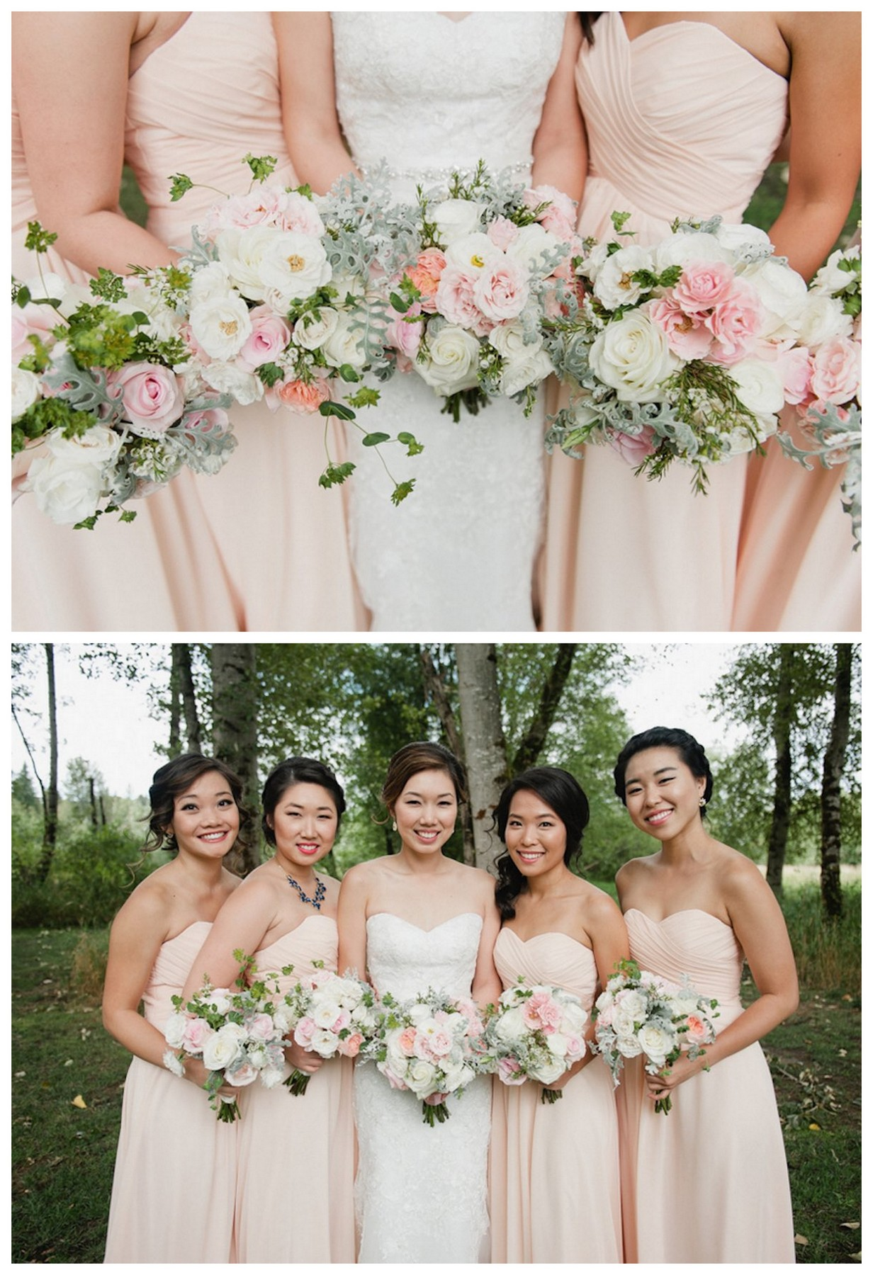 Blush pink white garden bridesmaid bouquets