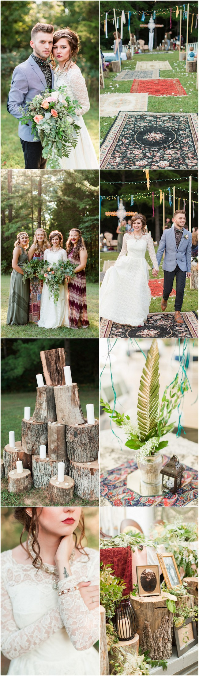 Their boho sunset campground wedding had doilies, dreamcatchers, mismatched rugs, tapestries, strings of twinkle lights overhead, candles & a Breaking Dawn inspired, vintage 1950s wedding dress!