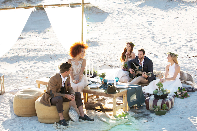 Boho beach wedding reception table and decor