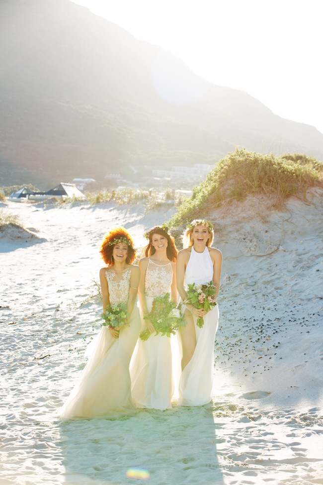 Boho beach wedding ceremony and decor
