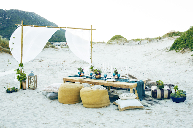 Boho beach wedding table reception and decor