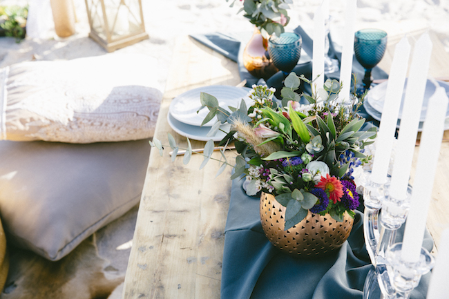 Boho beach wedding decor