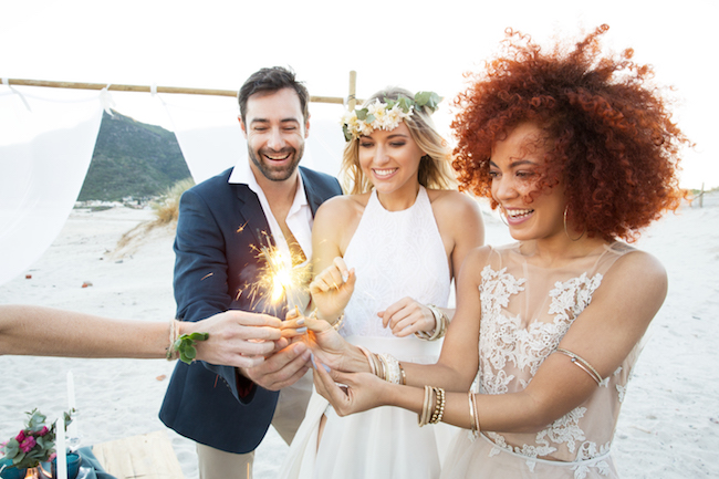 Boho beach wedding sparklers