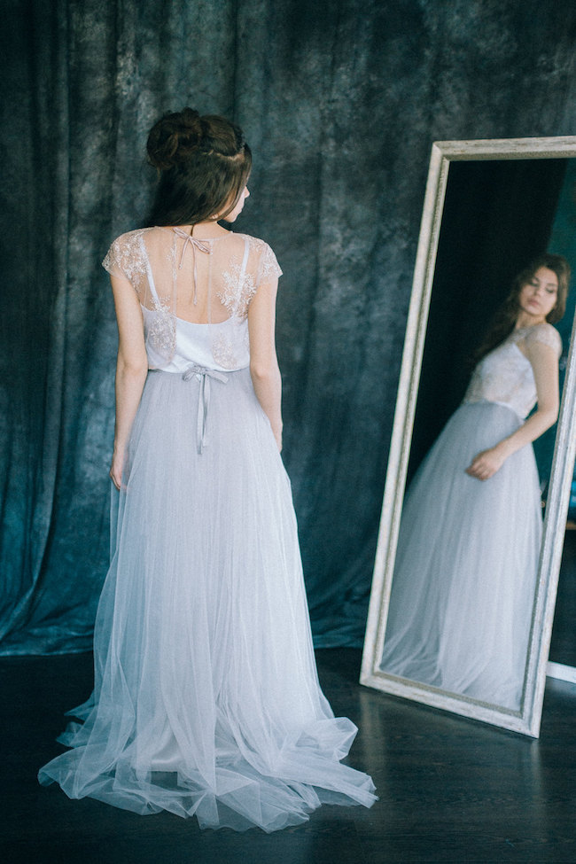 87d6b15c6 (Above) The delicate, dreamy nature of this embroidered, tulle two piece wedding  dress from LiLu Bridal is simply breathtaking – especially when paired with  ...