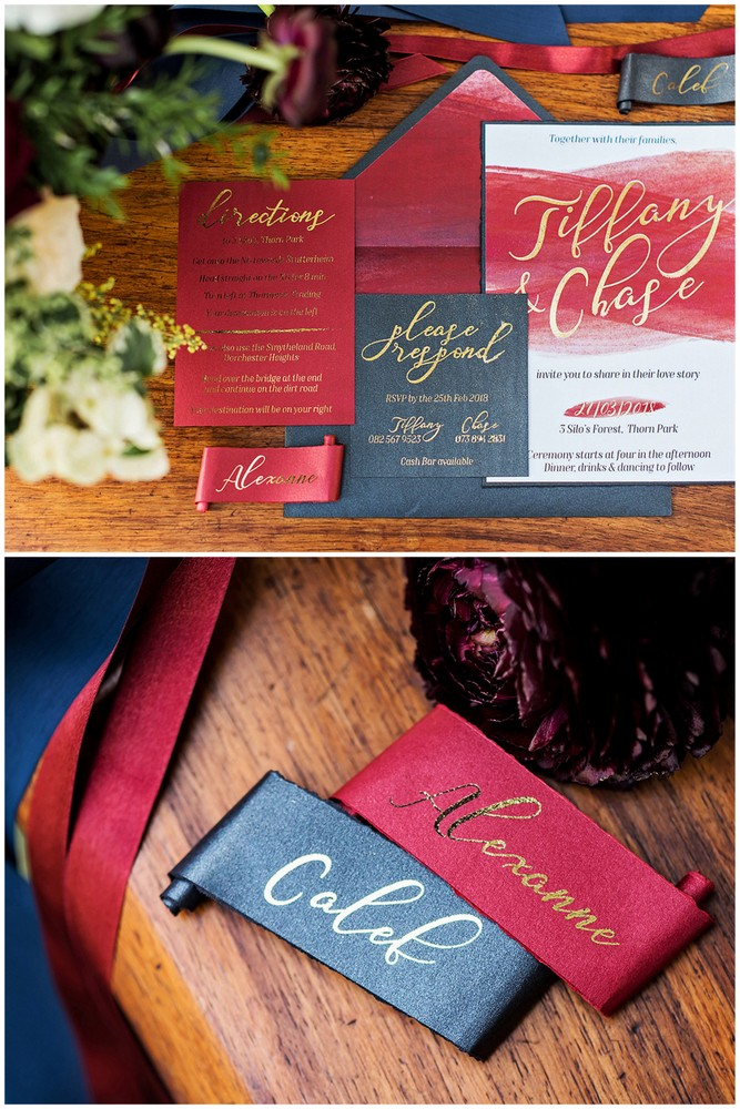Burgundy Red Navy blue Gold Wedding