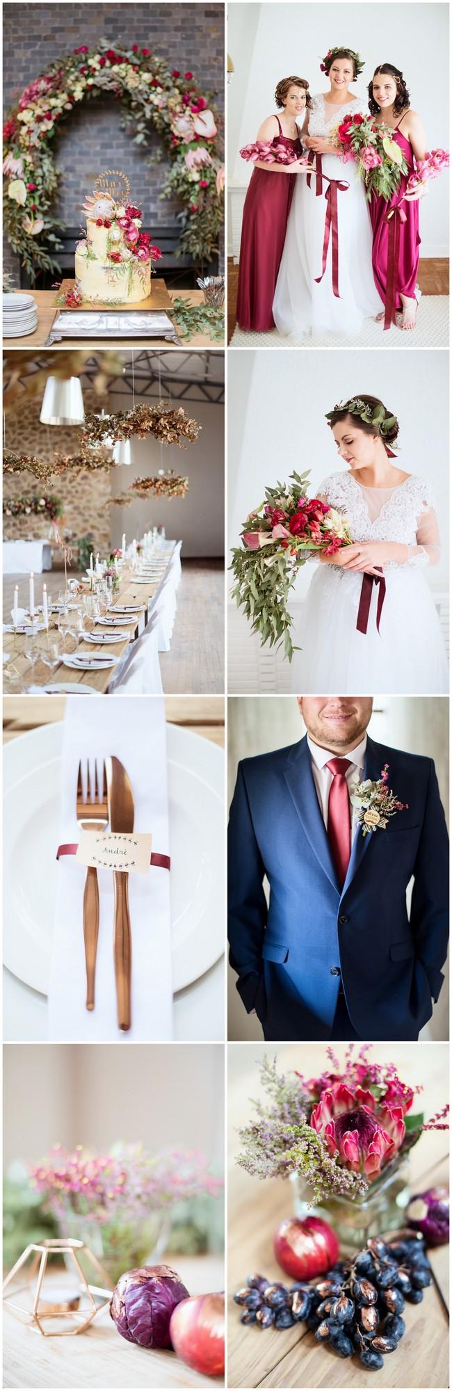 Burgundy and Gold Farm Wedding