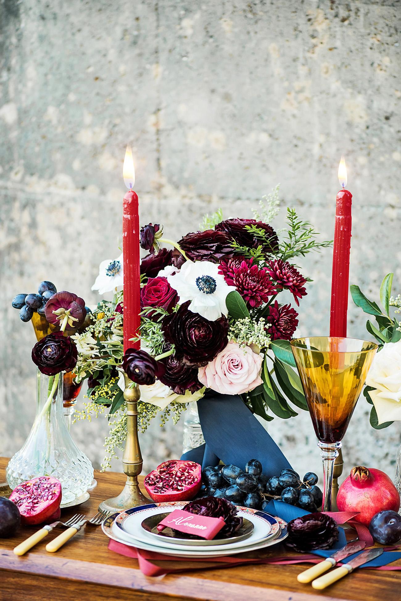 Burgundy red Navy Blue Wedding