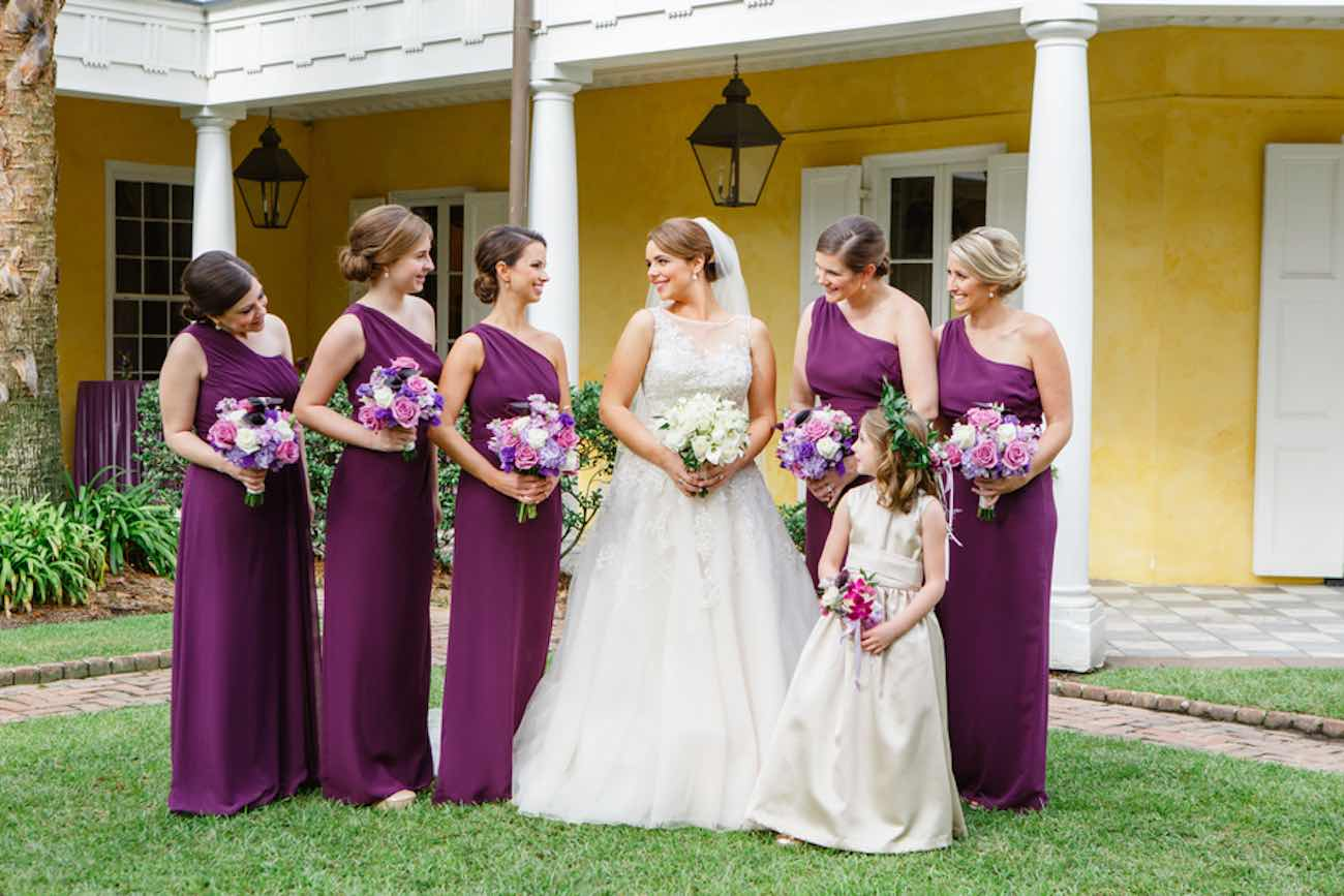 Charming Charleston Wedding at the Historic Aiken House with romantic lavender, purple and gold details. Images: Riverland Studios
