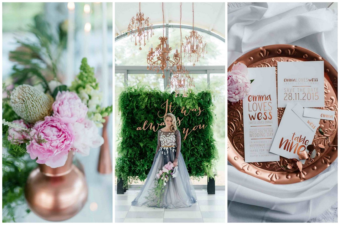 Romantic, Copper, Metallic & Blush Wedding Ideas {Debbie Lourens Photography}