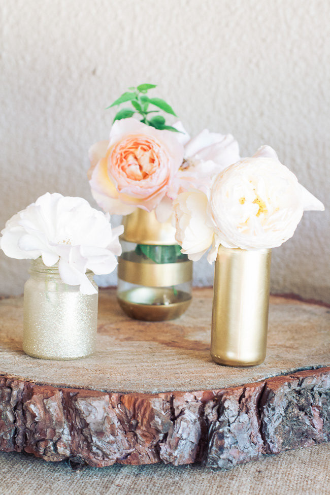 DIY Gold Glitter Bottle Vases