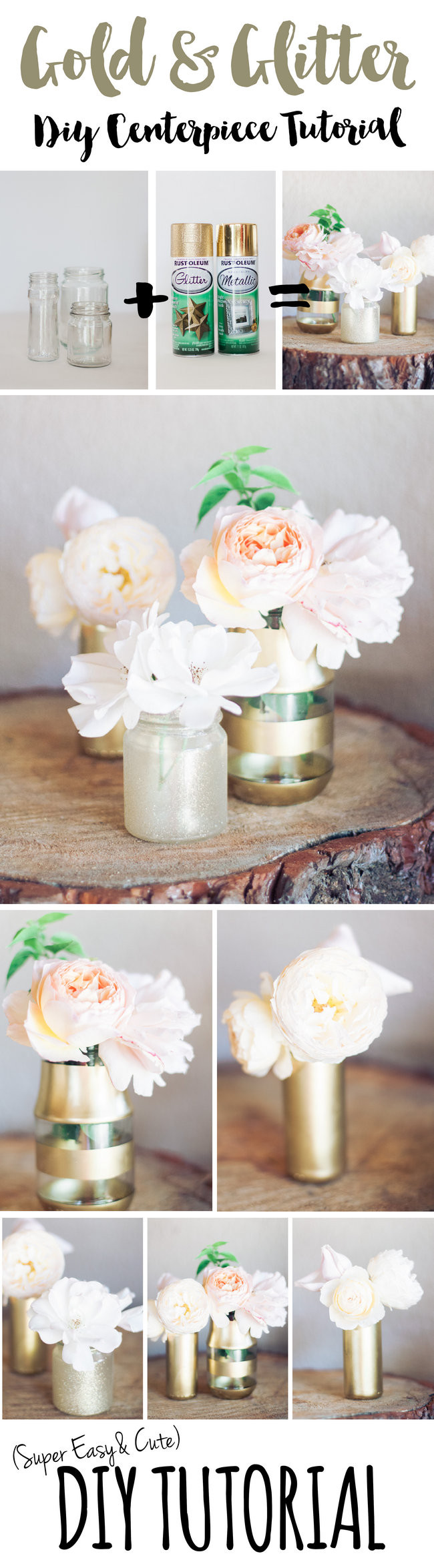Easy and super stunning DIY Gold Glitter Bottle to Vase Tutorial. Makes stunning wedding centerpieces! https://confettidaydreams.com/diy-gold-and-glitter-vases-tutorial/