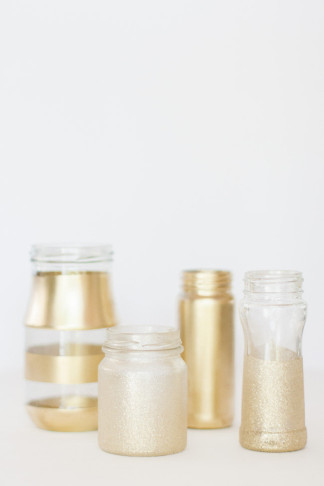 DIY Gold Glitter Bottle Vase 5