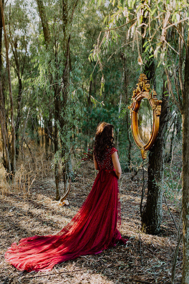 Mirror Mirror on the wall. Dramatic black and red forest wedding - Jana Marnewick Photography