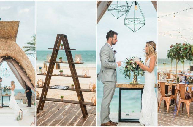Copper, Geometric + Boho Beach Wedding in Cancun, Mexico! {Dawn Derbyshire Photography}