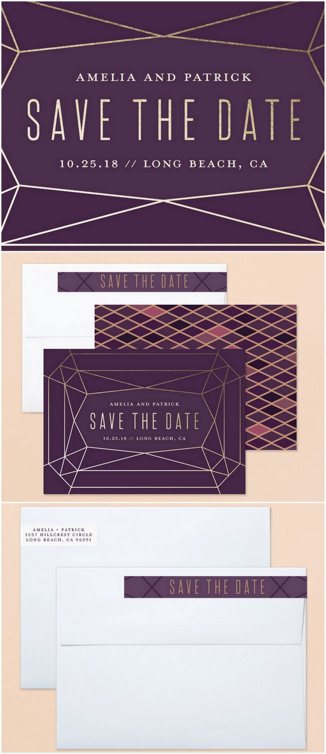 Geode Agate and Crystal Wedding Invitations