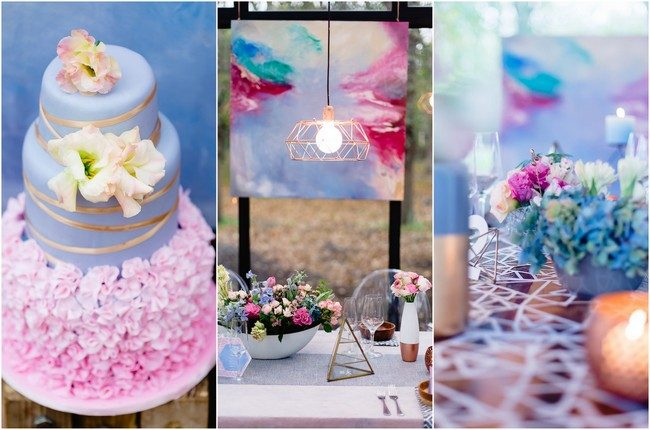Geometric Wedding Inspiration in Rose Quartz + Serenity Blue {Linda Fourie Photography}