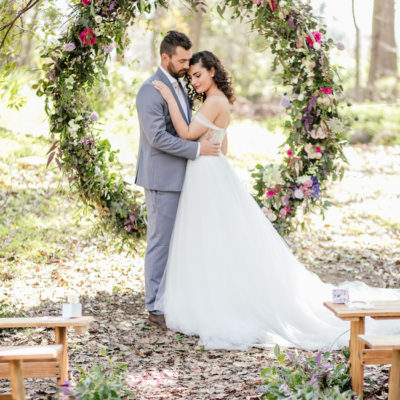 Outdoor Vows + A Giant Floral Wedding Ceremony Wreath {Nicola Bester Photography}